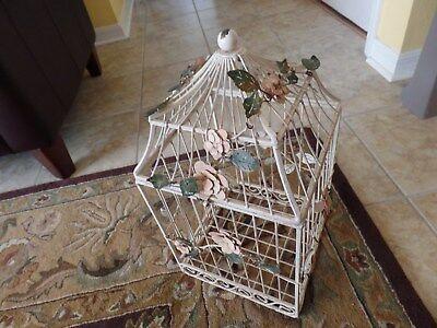 BIRD CAGE GESSO METAL ROSES VINE LEAVES CHRISTIE REPASY VICTORIAN OOAK