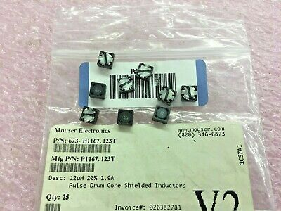 9 Piece Lot P1167.123t Pulse Fixed Ind 12uh 1.9a 57 Mohm Smd