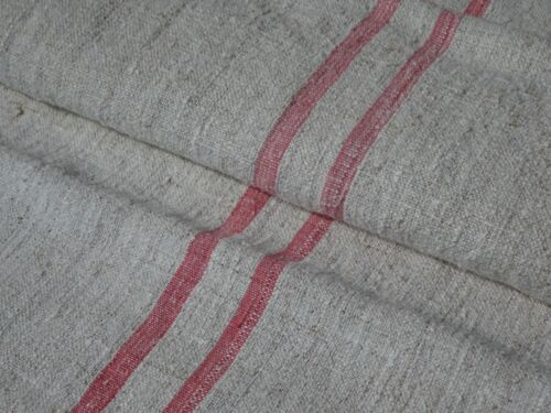Antique European Feed Sack Red Stripes # 9642