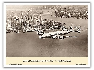 (Lockheed Constellation New York City Vintage Aviation Art Poster Print)