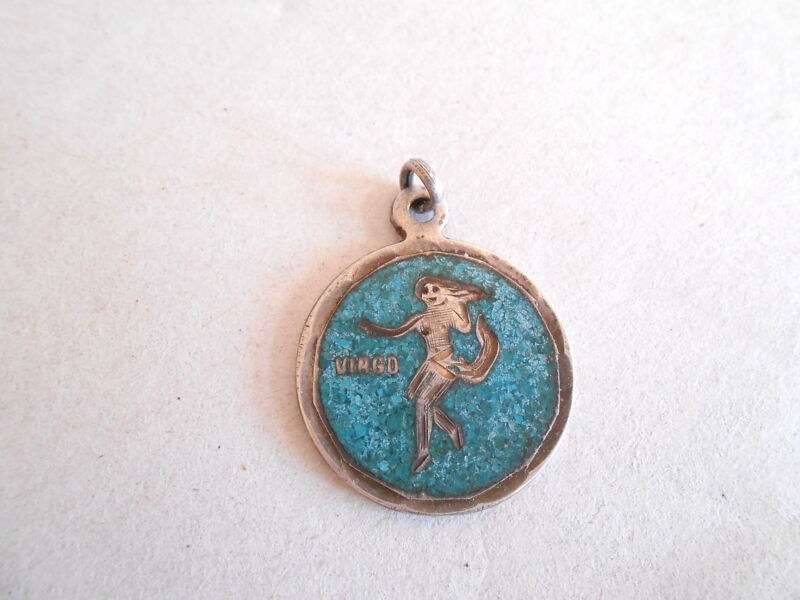 Vintage Mexco Sterling Silver and Turquoise Virgo Zodiac Horoscope Sign Charm