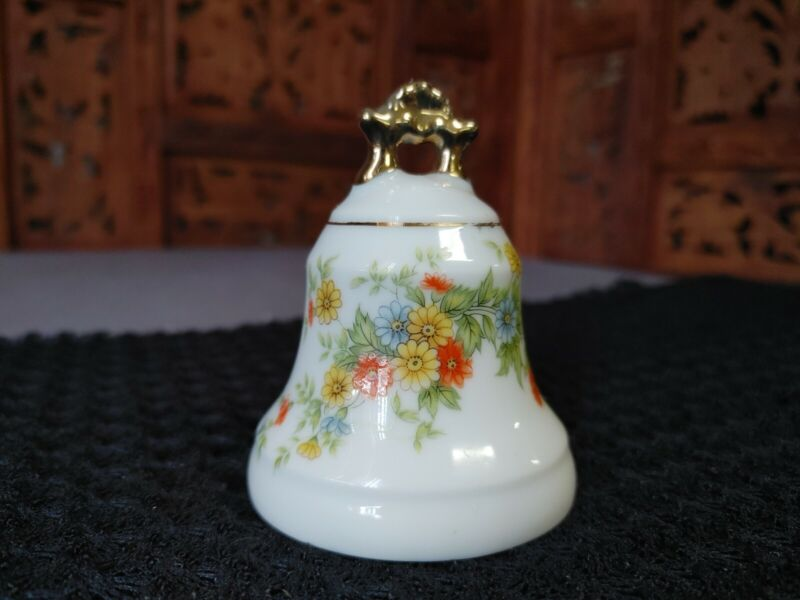 Lefton China Hand Painted Bell, 1922, Spring Flowers, Marked with Original Tag