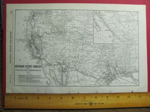 1916 SOUTHERN PACIFIC / SPdeM RAILROAD SYSTEM MAP SP RR HISTORY DEPOTS STATIONS