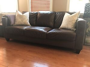 Brown Leather Sofa, Matching Loveseat and Ottoman for Sale