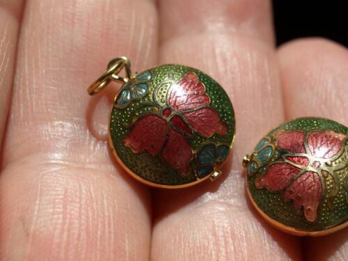 Vintage Chinese Cloisonné Enamel Double Sided Charm Pendant Butterfly Green 13mm
