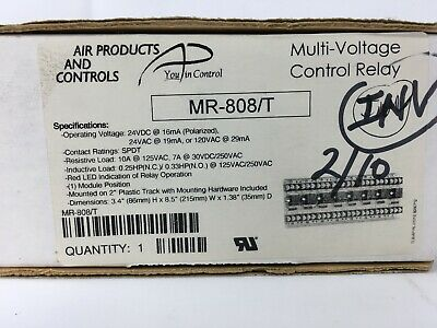 Mr-808t Multi-voltage Control Relay Air Products And Controls 8-pos Led Track