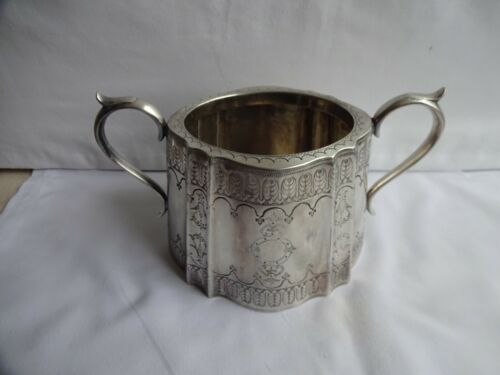 Antique Silver Plated Engraved Twin Handled Sugar Bowl Initialed JM 11 x 18 cm