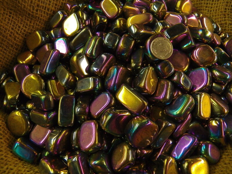 500 Carat Lots of Polished Tumbled Rainbow Hematite + FREE Faceted Gemstone