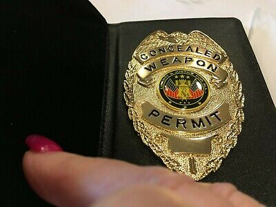 Genuine Black Leather Bi-fold conceal carry Badge Holder & Window Wallet-WW ship Fold Black Leather