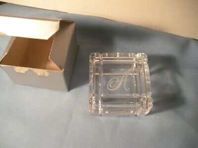 Jonal 24% Lead Crystal Glass Trinket Jewelry Box With The Initial A Engraved (Glasses With Initials)