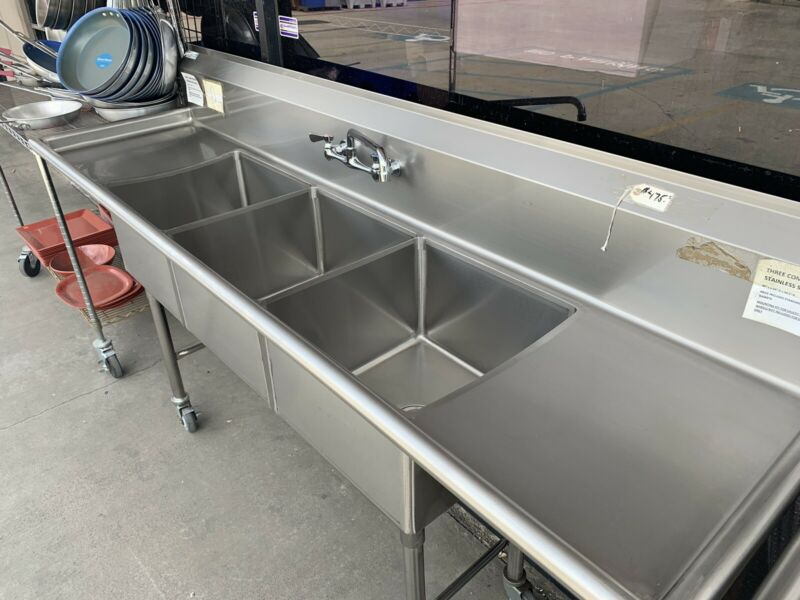 Commercial Stainless Steel Three Compartment Sink