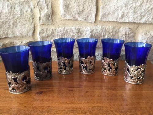 -6 Vintage Flared Cobalt Blue Tumblers w/Ornate Silver Serpent Holders Overlays