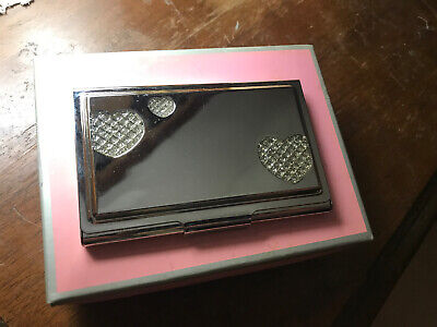 Nib Things Remembered Silver Business Card Holder Hearts Rhinestones Engraveable