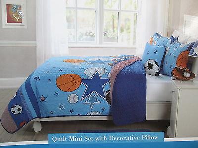 3 pcs Kids Expressions SPORTS AND STARS Twin Quilt, Sham & Decor Pillow NEW