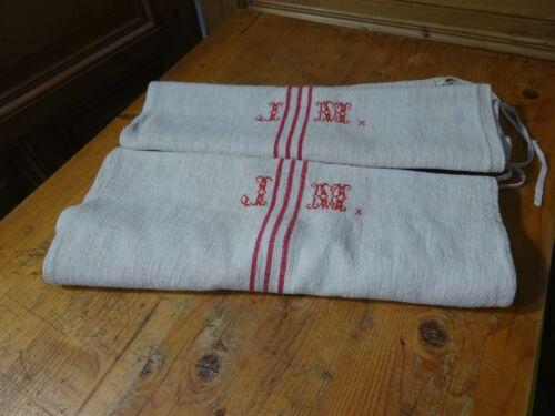 Antique European Feed Sack GRAIN SACK JM Monogram # 10638