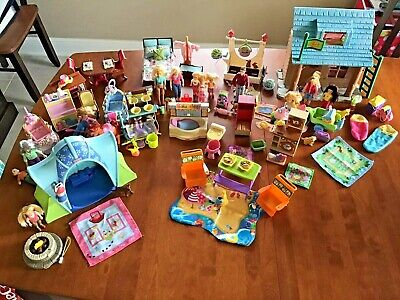 Fisher Price Loving Family Twins Dollhouse Accessories HUGE LOT Log Cabin Tent