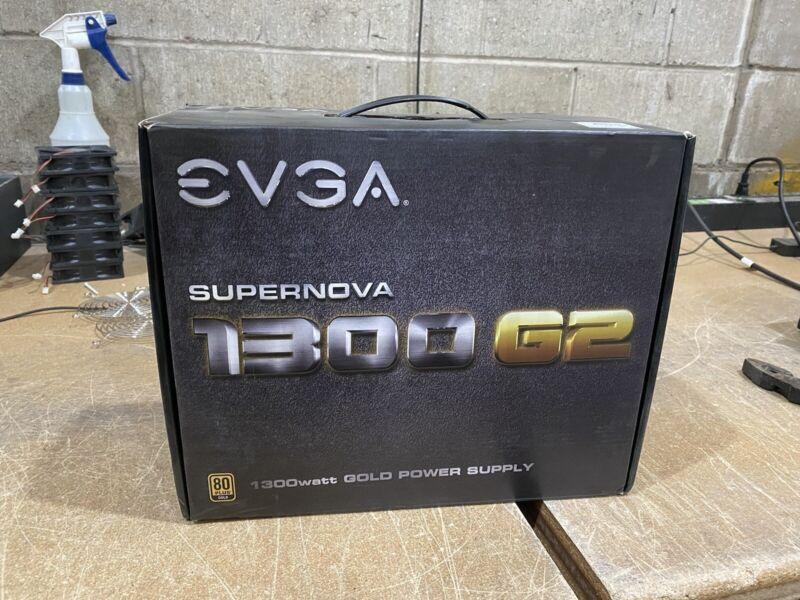 EVGA 1300 G2 1300W 80 PLUS Gold Power Supply Great Condition Mining ETH BTC ETC