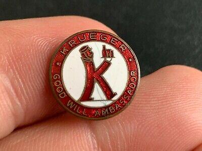 "Vintage KRUEGER BEER ""GOOD WILL AMBASSADOR"" Enameled Pin Pinback Badge"