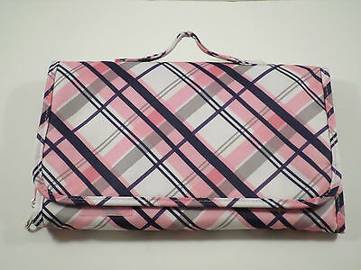 PRIMROSE HILL TRAVEL DIAPER CHANGING PAD PINK AND BLUE PLAID VERY NICE