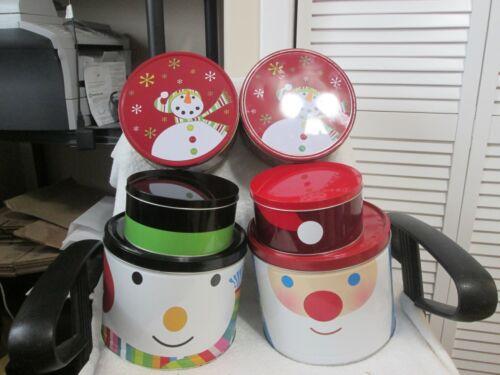 Set Of 6 Christmas Holiday Tins New See Description