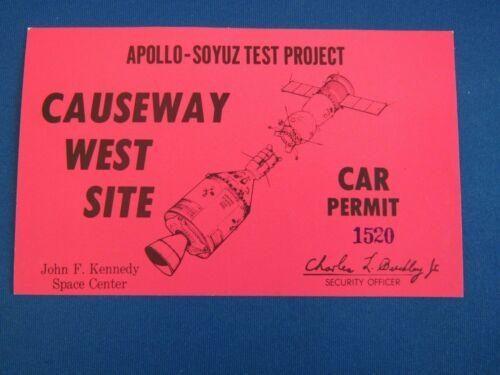 VINTAGE APOLLO-SOYUZ TEST PROJECT CAR PERMIT CAUSEWAY WEST SITE JFK SPACE CENTER
