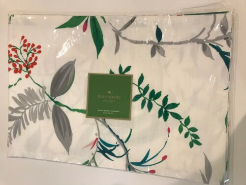 kate spade, Trellis Blooms, 4 placemats, White , green, gray,100% cotton, floral