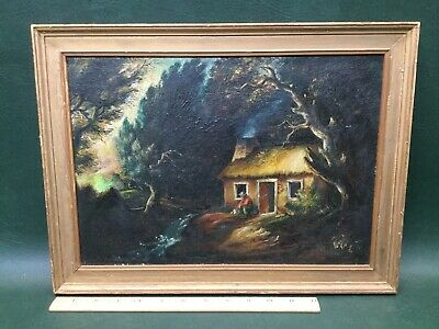 Original Oil Painting Cabin in the Woods in Frame ~ Signed W. Nowack 1939 - Painting Cabin In The Woods