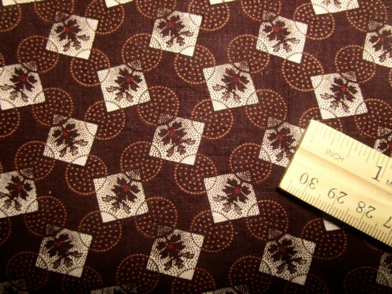 "Antique Fabric Squares 1800's Madder Calico Crisp! 9 PCs 7 1/2"" Quilt"