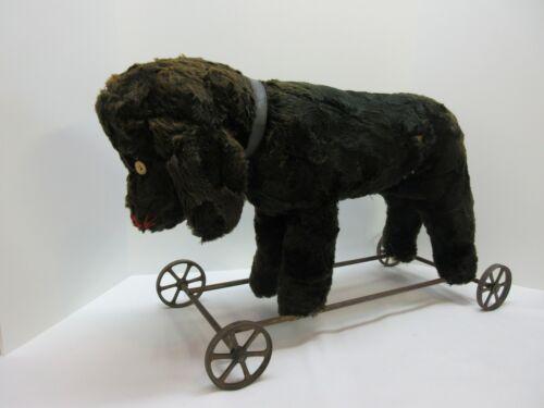 "Antique Original STEIFF Straw Stuffed RIDE ON BLACK DOG PULL TOY 24"""