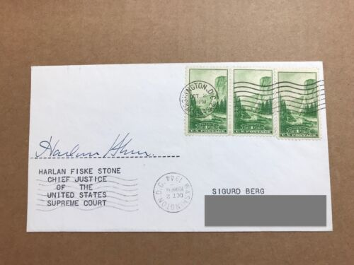 Harlan F. Stone Signed Envelope Supreme Court Justice Autograph Dated 1944 SASE