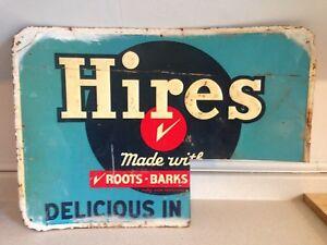 1950's Hires Root Beer Delicious In Bottles Original Tin Sign