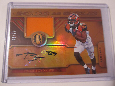 (2017 Panini Gold Standard Tyler Boyd Good as Gold Material Autograph 68/99 SP)