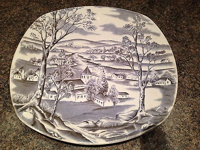 """1950s Happy Valley By Jessie Tait In Collectable Saxe Blue 9"""" Plate Midwinter"""