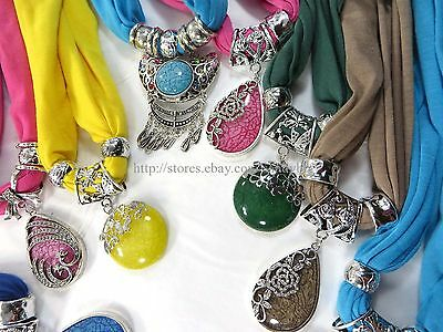 US SELLER-12pcs wholesale jewelry scarf necklace imitation gemstone pendant