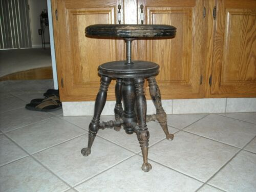 Antique Holtzman Adjustable Piano Stool Ball/Claw Feet Rustic Décor/ Plant Stand