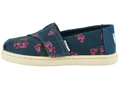 Toms Girls Tiny Classic Majolica Blue Bougainvillea Print Slip-on Shoes 10015195