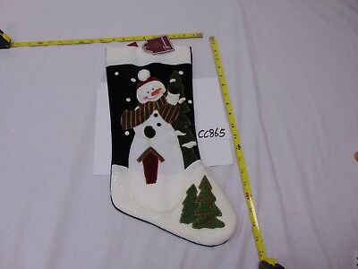 NEW CHRISTMAS DECORATION STOCKING TRIMMING TRADITIONS-BLUE SNOWMAN & TREE