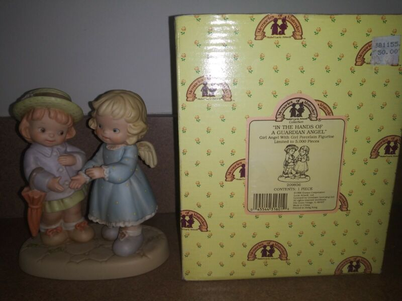 """Enesco Memories of Yesterday """"In the Hands of a Guardian Angel"""" figure box 1996"""