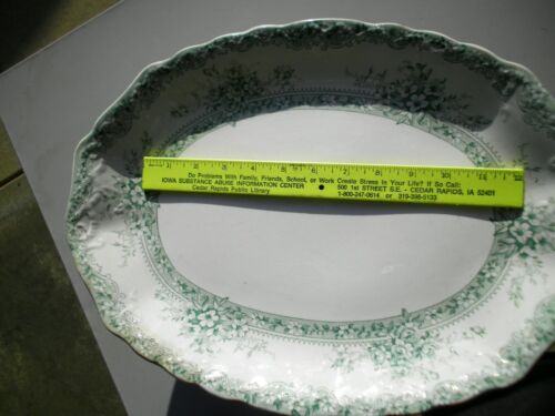 "1880s New Wharf English Pottery 16"" Serving Platter Green Plymouth Transferware"