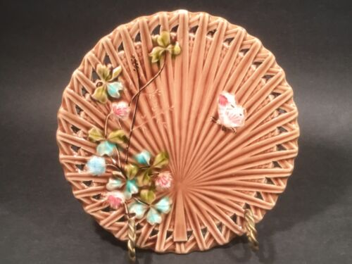 Antique Majolica Butterfly and Flowers Plate c.1800