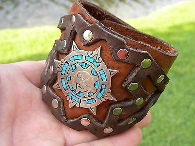 High Quality  Bison Leather cuff Bracelet silver inlay Aztec calendar men (Aztec Costume For Men)