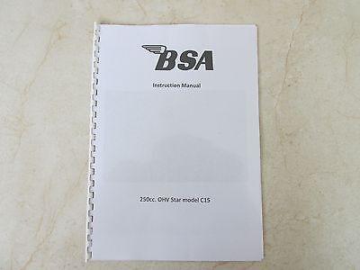 BSA 250 OHV Star C15 Owners Workshop Maintenance Manual