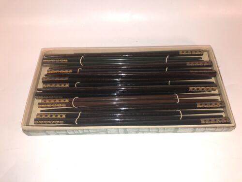 Vintage 9 Pairs of Wood Chopsticks Original Gift Set Box see pics, make offer!