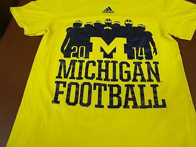 ADDIDAS SMALL  NCAA Michigan Football T-shirt 2014 Bo Schembechler Quote   A2