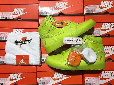 Nike Air Jordan 1 Retro High Gatorade 8 14 Cyber Yellow Lemon Lime Aj5997 345