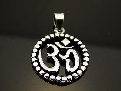 Vintage Sterling Silver Buddhist Om Pendant Tibetan Sanskrit Amulet Charm 17mm