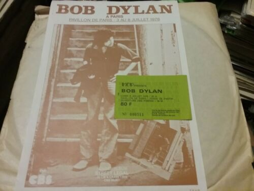BOB DYLAN 1978 JULY 3 PARIS FLYER WITH TICKET NMINT RARE CLEAN VTG HTF!