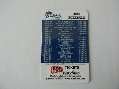 2015 NFL NEW ENGLAND PATRIOTS FOOTBALL SCHEDULE 2 SIDED CARD -ACE TICKETS MAY162
