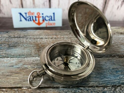Silver Finish Brass Push Button Pocket Compass - Old Vintage Mini Antique Style