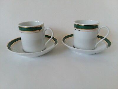 Crown Prestige Green Coffee Tea Cups and Saucers  6ozs Espresso Demitasse